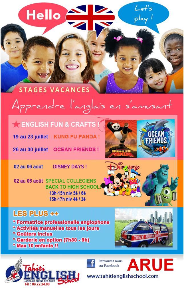 Anglais stage vacances 2021