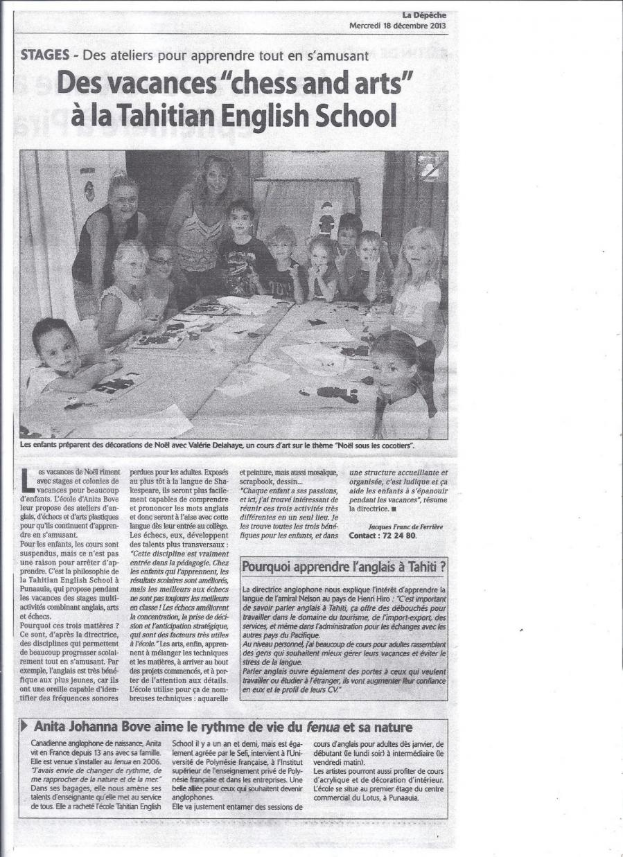 Tahiti English School dans La Dépêche