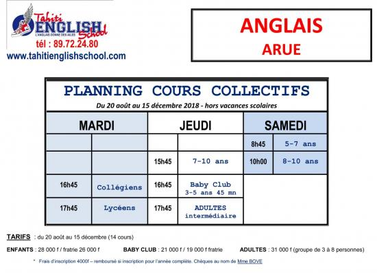 Planning cours arue 2018