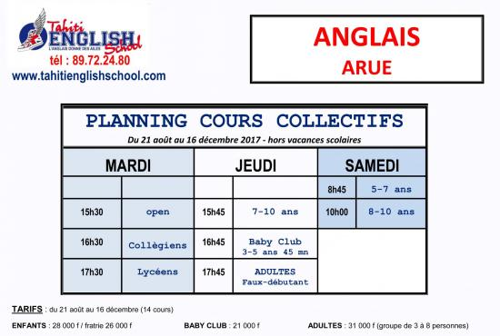 Planning cours collectifs ARUE 2017 2018