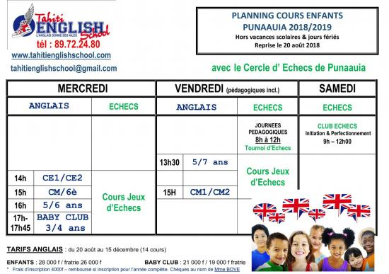Planning cours enfants PUNAAUIA 2018 MAJ