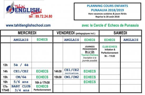 Planning cours enfants puna 2018
