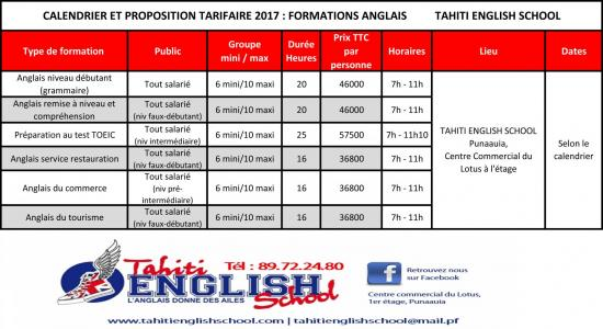 Tarifs Anglais Formation Continue 2017